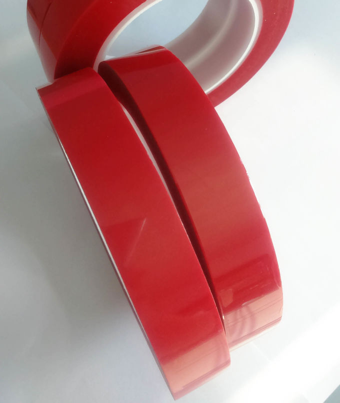Soft And Tender Red Polyester Adhesive Tape / Switch Bonding Tape For Film Liner