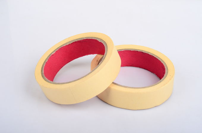 Yellow Crepe Paper Automotive Masking Tape , Different Types Of Masking Tape